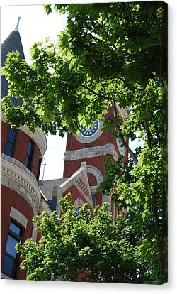 Canvas Print featuring the photograph The Monroe Courthouse Tower by Ramona Whiteaker