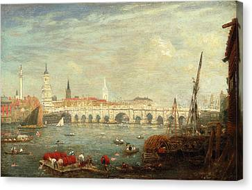 The Monument And London Bridge, London Frederick Nash Canvas Print by Litz Collection