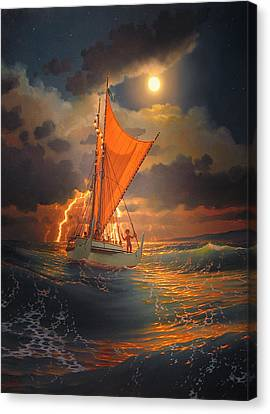 The Mo'okiha O Pi'ilani Sailing In Front Of The Storm In The Moonlight Canvas Print by Loren Adams