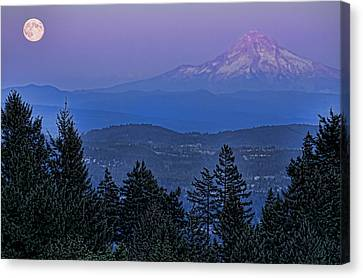 The Moon Beside Mt. Hood Canvas Print by Don Schwartz