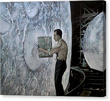 The Moon Builders - Lunar Orbit And Let-down Approach Simulator.  Canvas Print by Simon Kregar