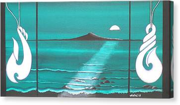 Aotearoa Canvas Print - The Moon Over Rangitoto by Astrid Rosemergy