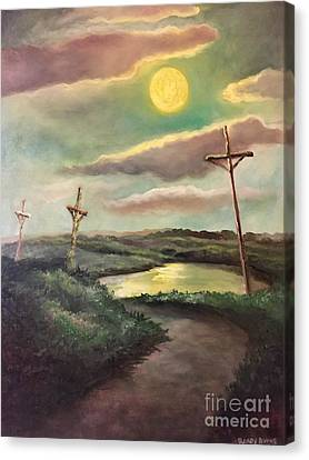 Canvas Print featuring the painting The Moon With Three Crosses by Randol Burns