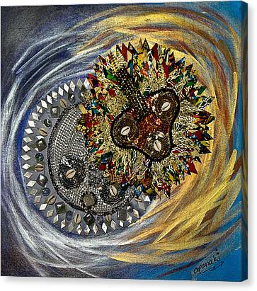 Canvas Print featuring the tapestry - textile The Moon's Eclipse by Apanaki Temitayo M