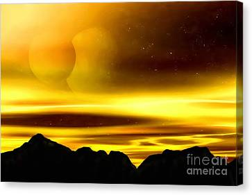 Canvas Print featuring the painting The Moons Of Midas by Pet Serrano