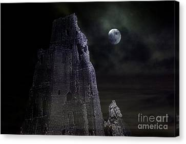 The Moonshine On The Castle Canvas Print by Terri Waters