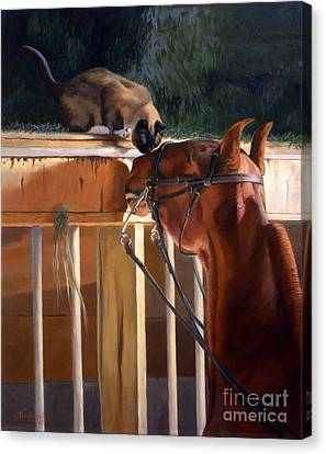 Siamese Canvas Print - The Morning Buzz by Jeanne Newton Schoborg