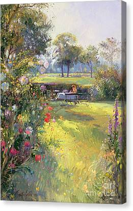 Benches Canvas Print - The Morning Letter by Timothy  Easton