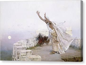 The Morning Prayer Canvas Print by Salvador Viniegra y Lasso de la Vega