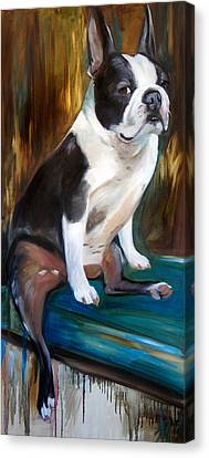 Man In The Moon Canvas Print - The Most Interesting Dog In The World by Mary Sparrow