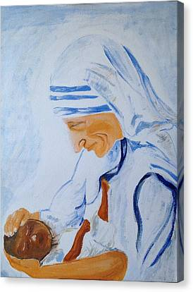 Canvas Print featuring the painting The Mother by Brindha Naveen