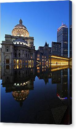 The Mother Church And The Pru Canvas Print by Juergen Roth