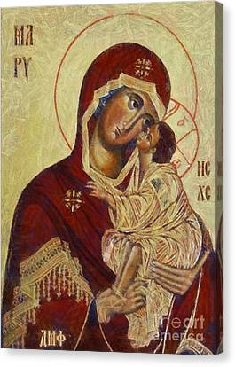 Sacred Canvas Print - The Mother Of God -the Don Icon by Dragica  Micki Fortuna