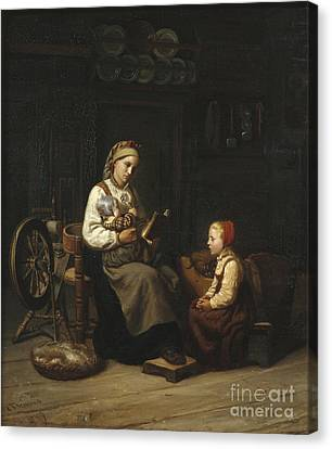 The Mothers Teaching Canvas Print by Adolph Tidemand