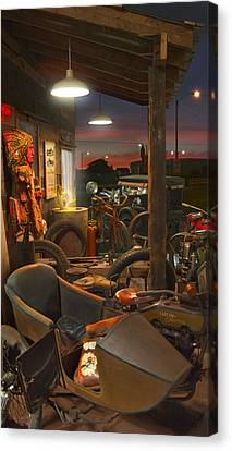 The Motorcycle Shop 2 Canvas Print by Mike McGlothlen