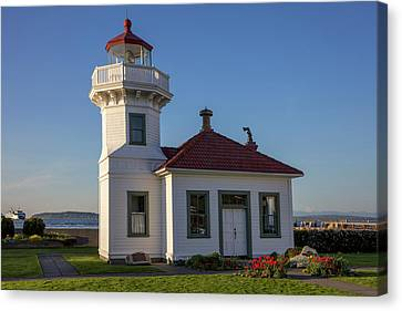 Pacific Northwest Ferry Canvas Print - The Mukilteo Lighthouse In Everett by Chuck Haney