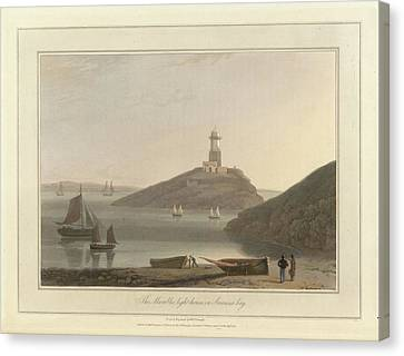 The Mumbles Lighthouse In Swansea Bay Canvas Print by British Library