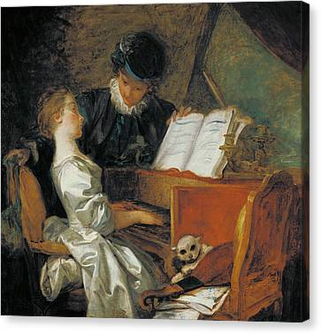 The Music Lesson Oil On Canvas Canvas Print by Jean-Honore Fragonard