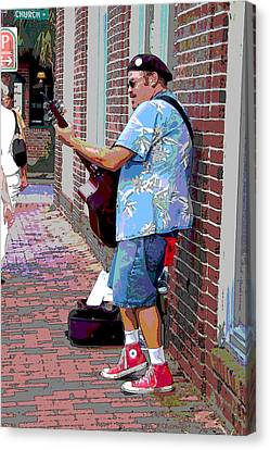 The Music Man And His Red Shoes Canvas Print by Suzanne Gaff