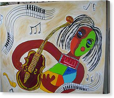 Canvas Print featuring the painting The Music Practitioner by Sharyn Winters