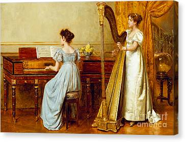 Old Canvas Print - The Music Room by George Goodwin Kilburne