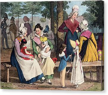 The Nannies, 1820 Colour Litho Canvas Print by John James Chalon
