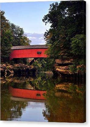 The Narrows Covered Bridge 5 Canvas Print by Marty Koch