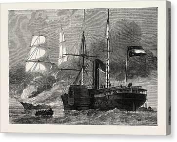 The Nashville Destroying A Federal Merchantman Canvas Print by American School