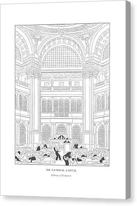 The National Capital Library Of Congress Canvas Print by Gluyas Williams