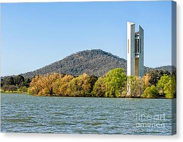 The National Carillon And Lake Burley Griffin - Canberra - Australia Canvas Print by David Hill
