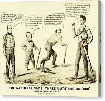 Slaves Canvas Print - The National Game - Abraham Lincoln Plays Baseball by Bill Cannon