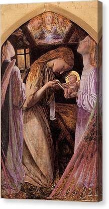 The Nativity With Angel Canvas Print by Arthur Hughes