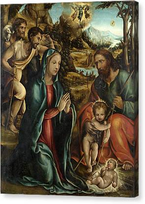 The Nativity With The Infant Baptist And Shepherds Canvas Print by Follower of Sodoma