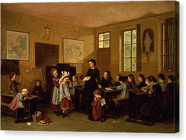 The Naughty School Children Canvas Print by Theophile Emmanuel Duverger