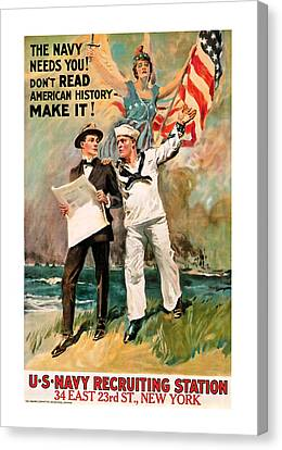 Canvas Print featuring the mixed media The Navy Needs You by Presented By American Classic Art