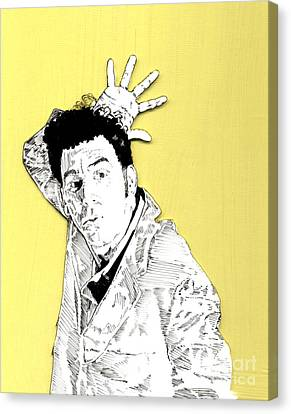 Canvas Print featuring the mixed media The Neighbor On Yellow by Jason Tricktop Matthews