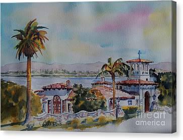Palos Verdes Cove Canvas Print - The Neighborhood Church by Dodie Davis