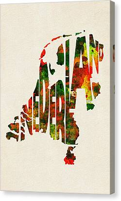 The Netherlands Typographic Watercolor Map Canvas Print