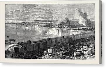 The New Docks And Repairing Basin At Chatham 1871 Canvas Print by English School
