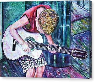 The New Guitar Canvas Print by Linda Vaughon