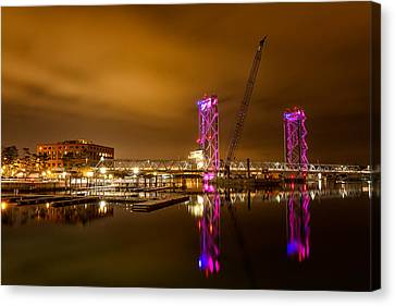 The New Memorial Bridge At Night Canvas Print by Jeff Sinon