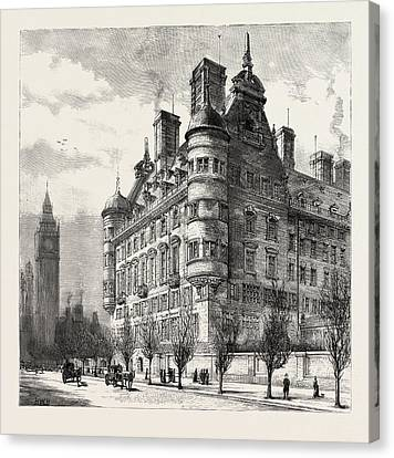 The New Police Offices On The Victoria Embankment Canvas Print by English School