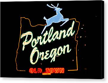 The New Portland Oregon Sign At Night With White Lights Canvas Print by DerekTXFactor Creative