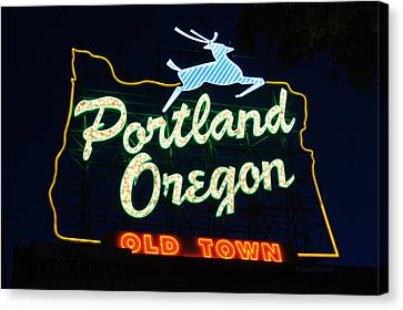 The New Portland Oregon Sign Canvas Print by DerekTXFactor Creative