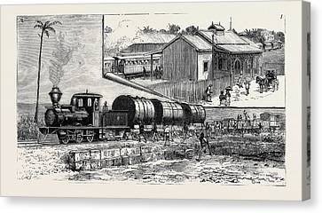 The New Railway At Barbadoes Canvas Print by English School
