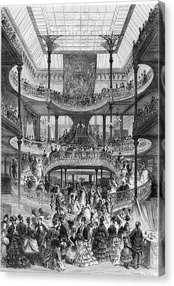 The New Staircase In Au Bon Marche, From Le Monde Illustre Canvas Print by Frederic Lix