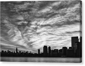 The New York City Skyline Awakens Bw Canvas Print by Susan Candelario