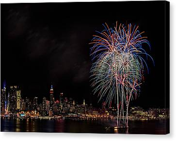 The New York City Skyline Sparkles Canvas Print by Susan Candelario