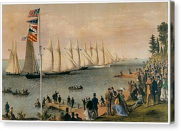 The New York Yacht Club Regatta Canvas Print by Charles Parsons and LyAtwater Nathaniel Currier