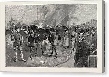 The Newmarket October Meeting The Birdcage On A Rainy Day Canvas Print by English School